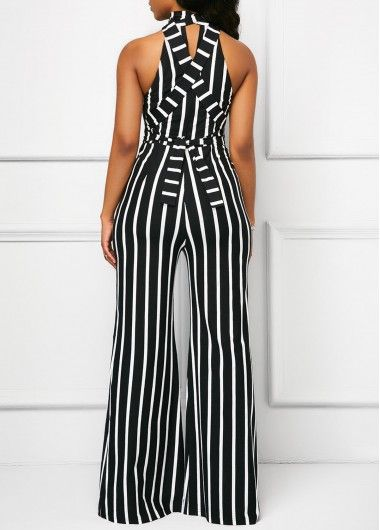 02898fb4918 Black Belted Cutout Sleeveless Striped Jumpsuit