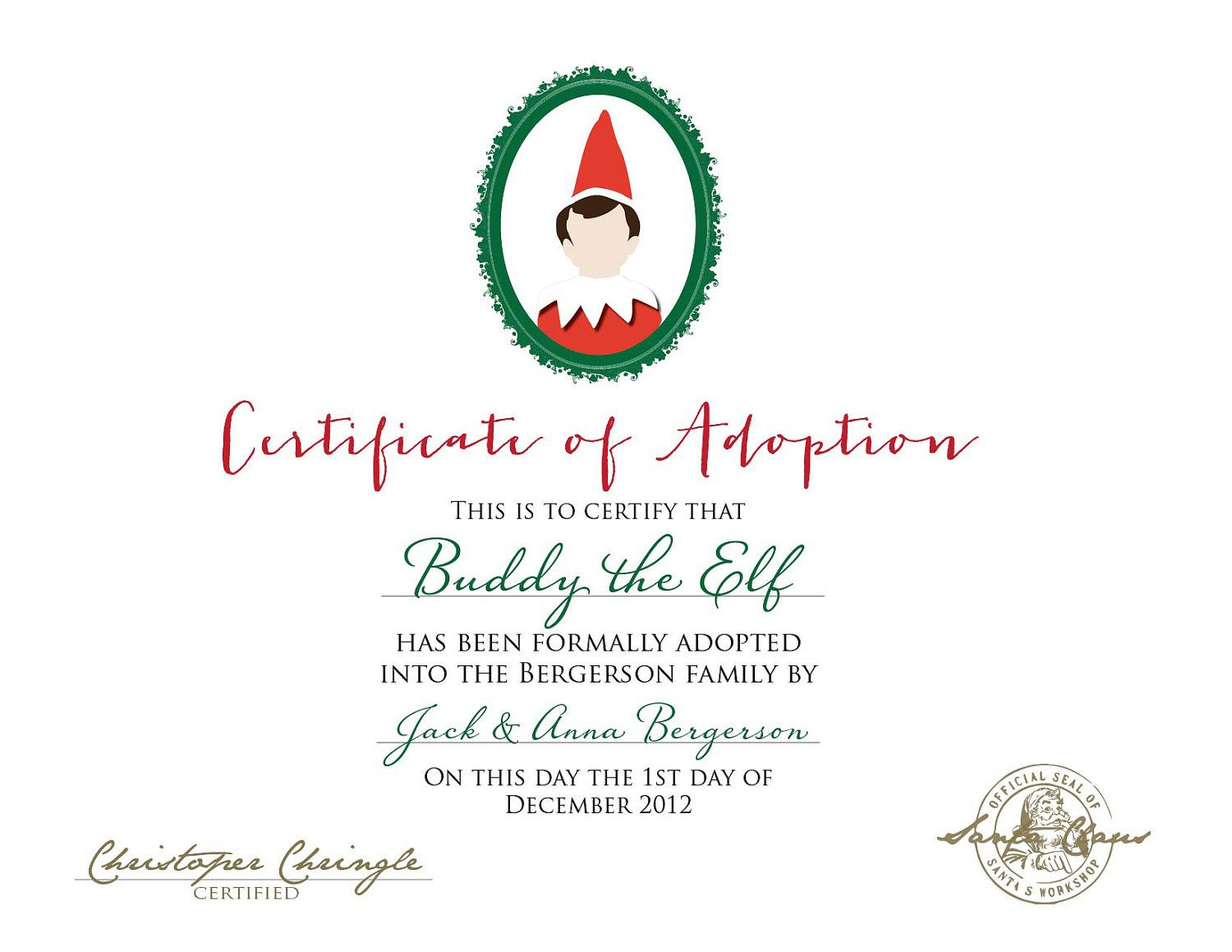 Elf On The Shelf Adoption Certificate Printable By