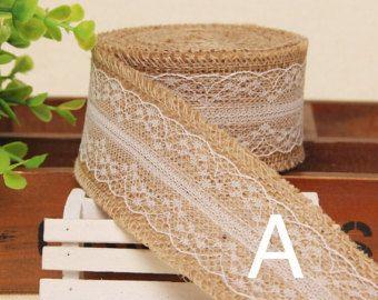 5 Yards 6cm2.5 Burlap Lace Ribbon Trim Rustic by miBonCrAft