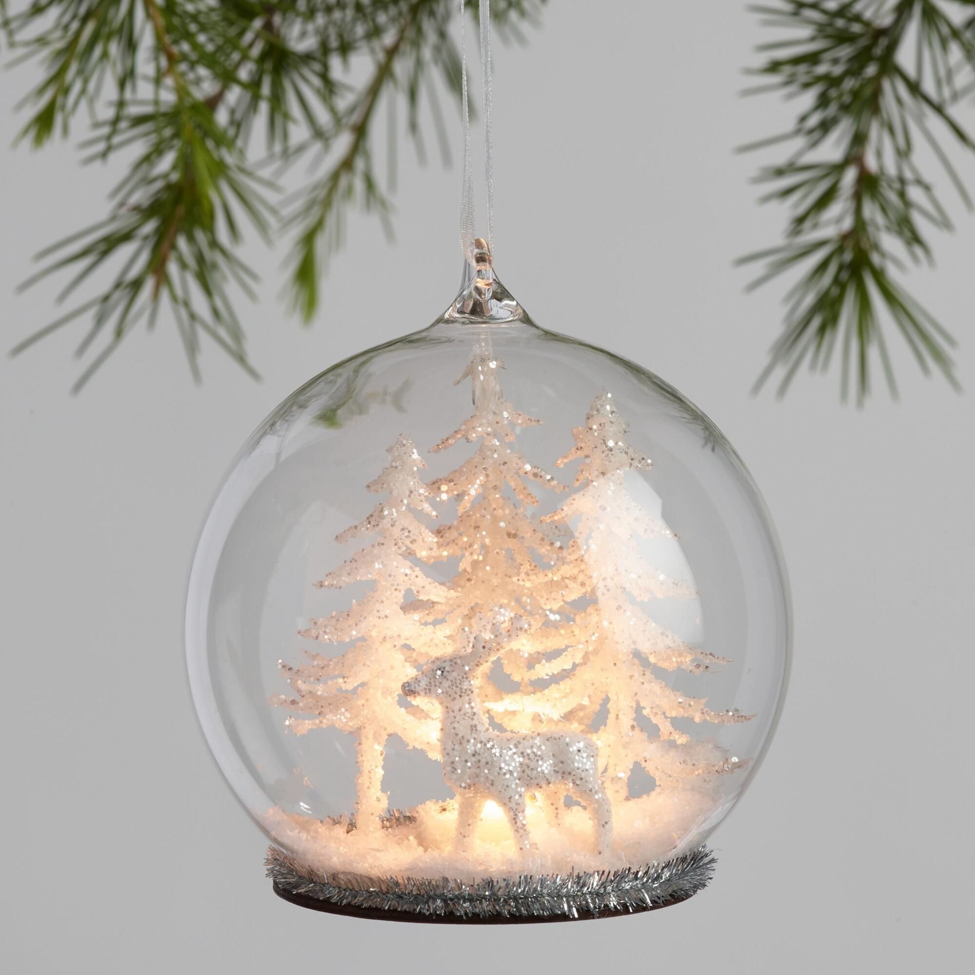 Gl Cloche Winter Scene Led Light Up Ornaments Set Of 2 By