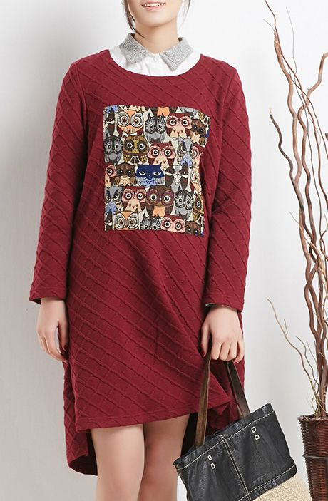 Casual blouse, burgundy spring cotton dresses oversize shift dress
