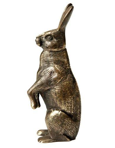 Antique Victorian Artist Signed Bronze Sculpture of a Rabbit
