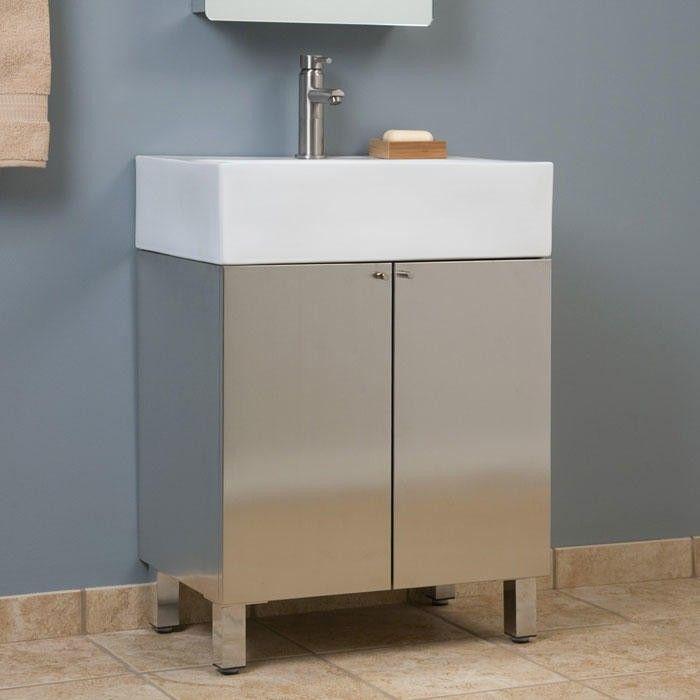 48 Showcase Series Stainless Steel Vanity Brushed Bathroom Enchanting Steel Bathroom Cabinet Ideas