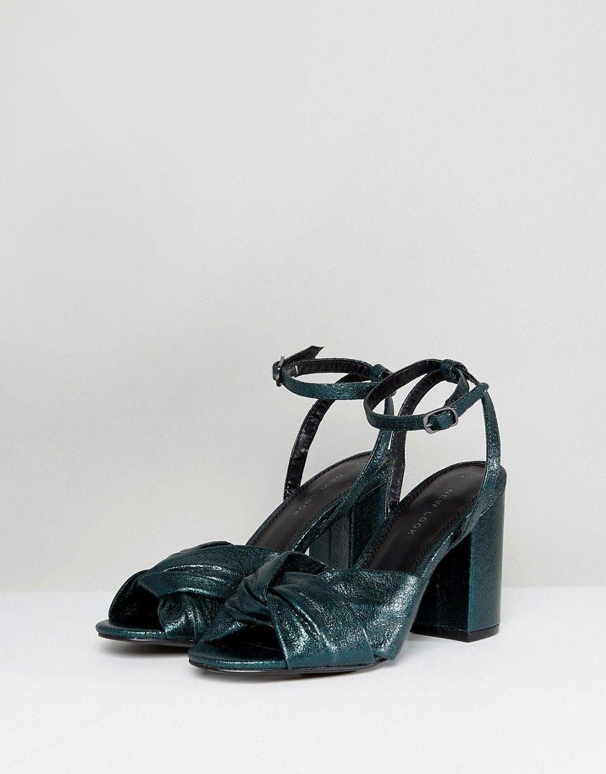 Shimmer Knot Block Heel Sandal - Blue New Look b455x3COI