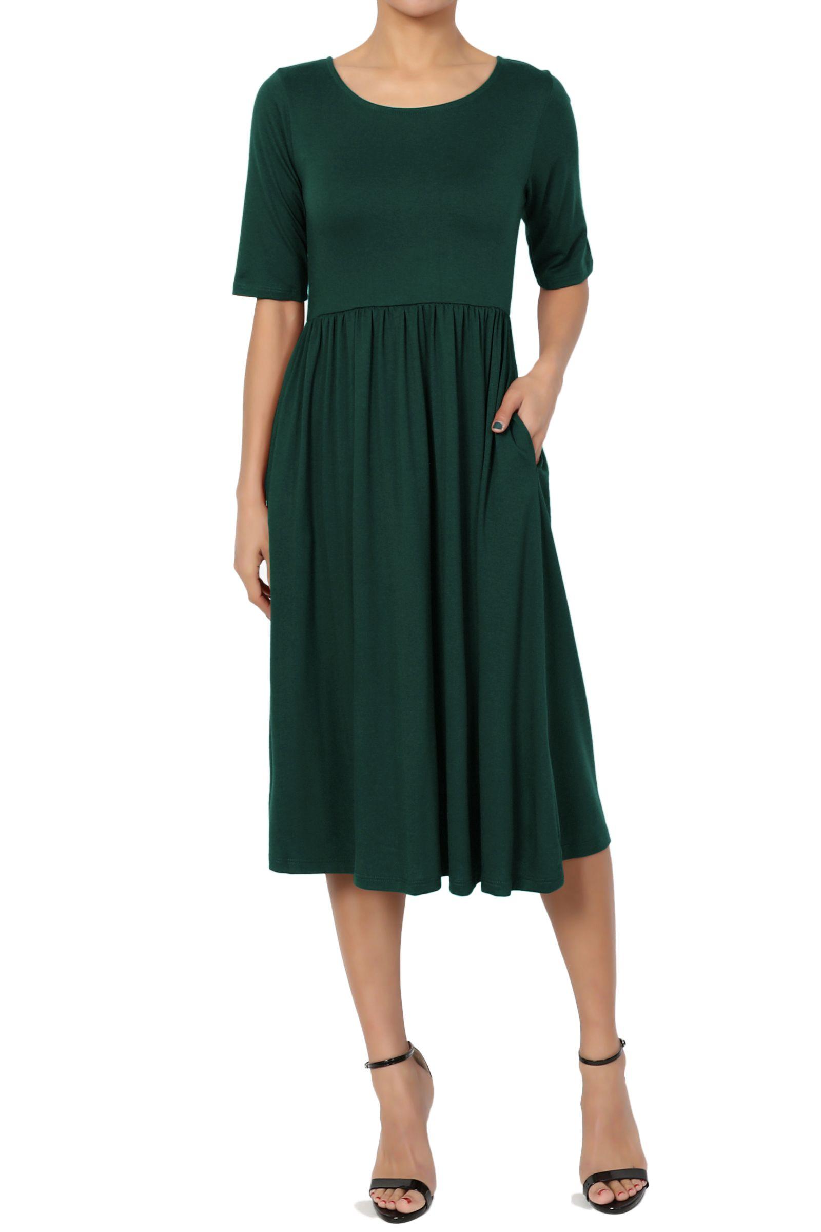Themogan Themogan Women S 1 2 Short Sleeve Pleated Empire Waist Fit Flare Pocket Dress Walmart Com Dressy Cocktail Dress Short Strapless Prom Dresses Pocket Dress [ 2400 x 1600 Pixel ]
