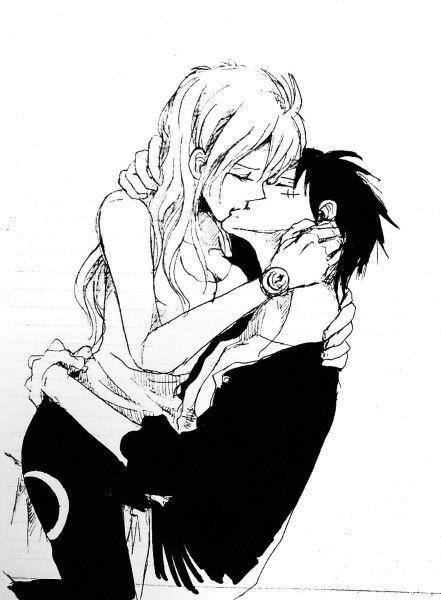 nami y luffy kiss hot