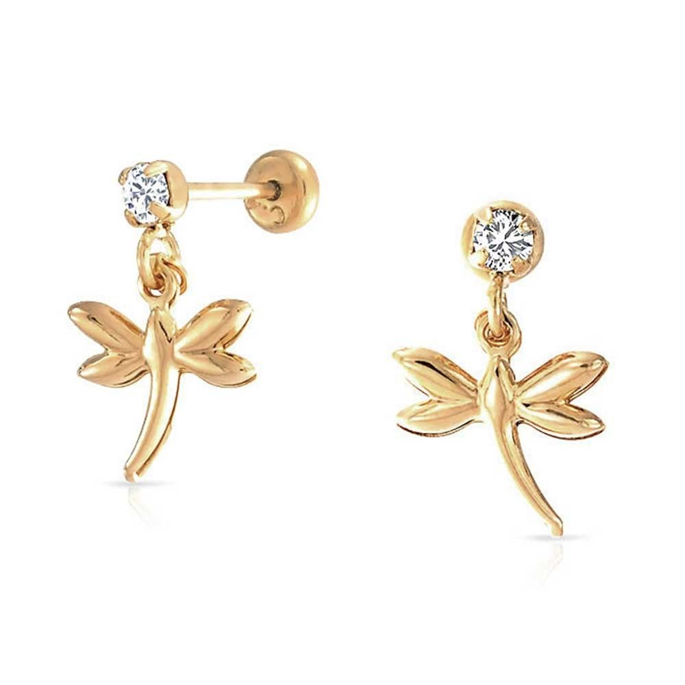 Bling Jewelry Girls Dragonfly Crystal Dangle Earrings Gold Filled hLPUsplYR