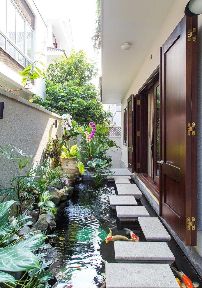 image result for koi pond side yard