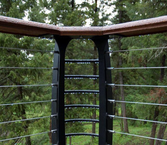 Deck Railing Aluminum Posts Ipe Handrail Stainless Steel Cables Metal Deck Railing Deck Railings Deck Railing Systems