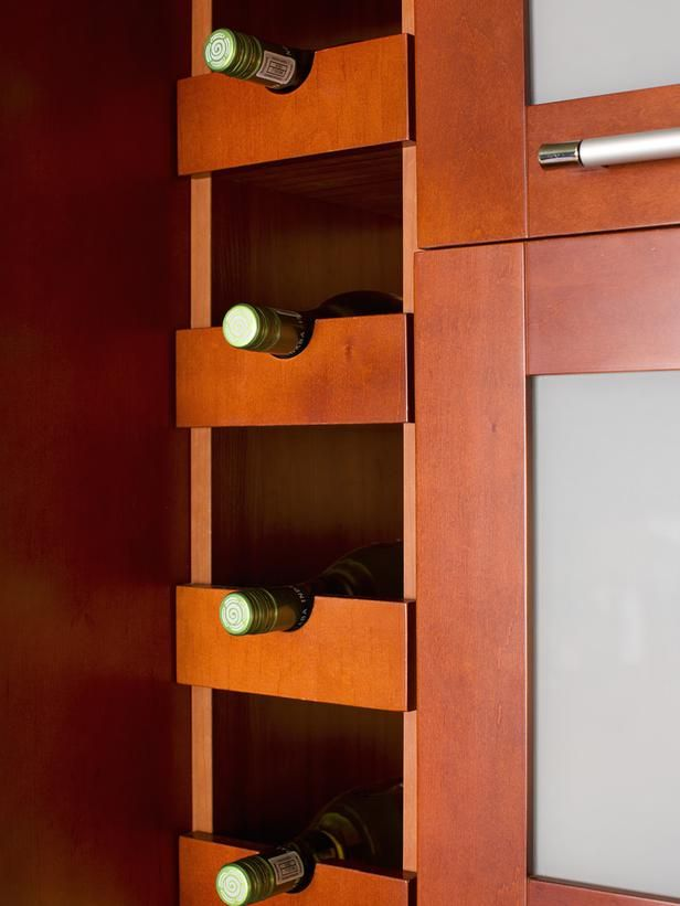 How to Add Dining Space to a Small Kitchen   Wine storage  Hgtv and     To integrate wine storage into the kitchen  vertical space near the  refrigerator was outfitted with