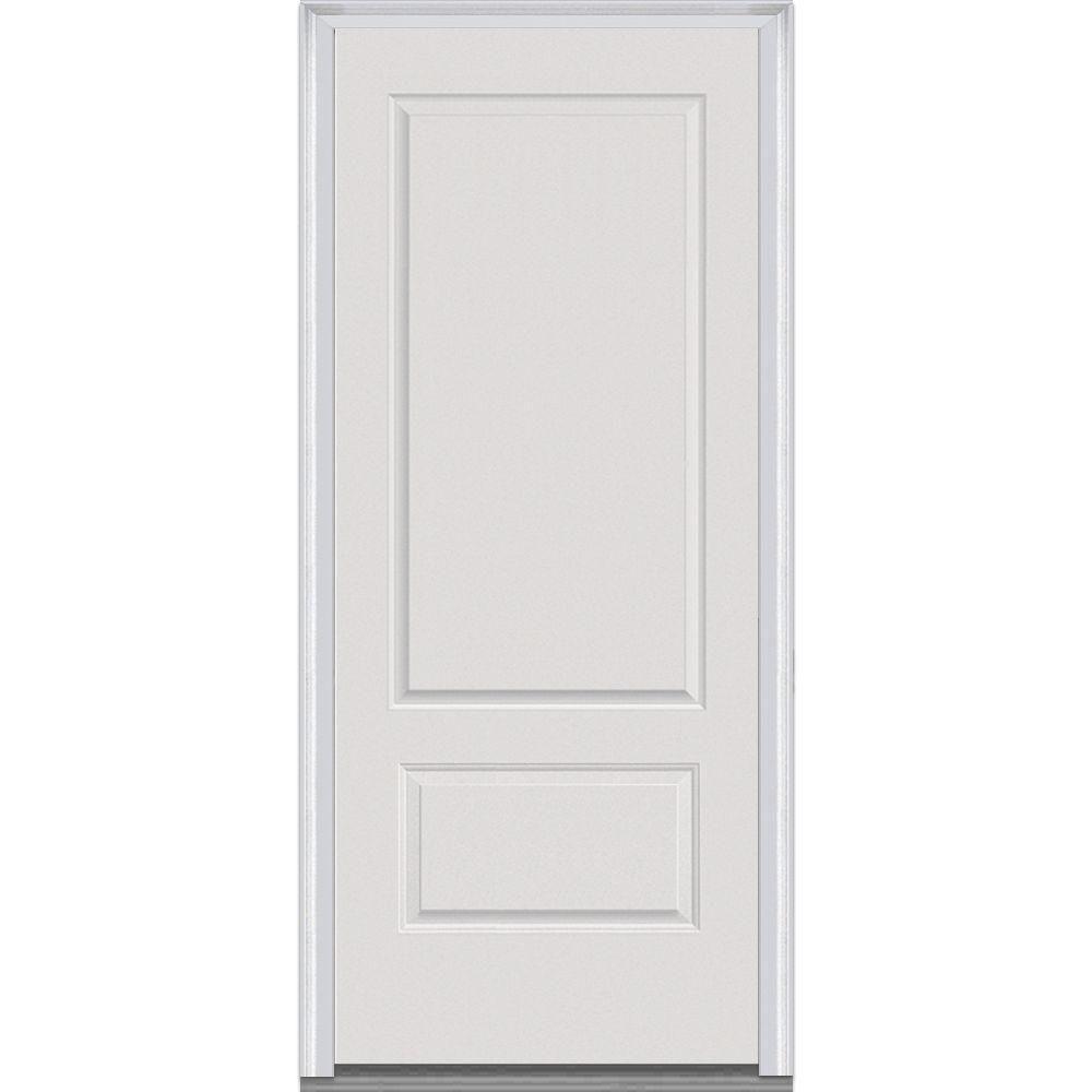 Milliken Millwork 36 In X 80 In 2 Panel Primed White Fiberglass Smooth Severe Weather Prehung Front Door Z020373l The Home Depot Mmi Door