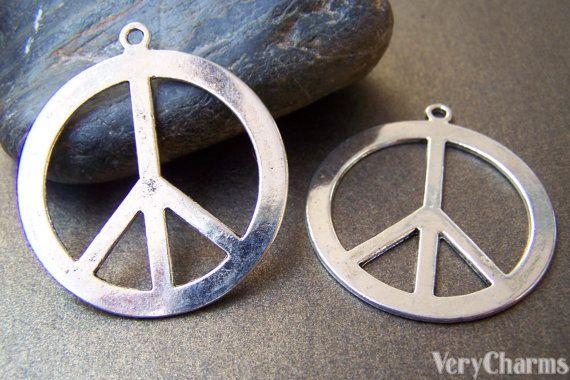 Peace Symbol Pendants Antique Silver Flat Charms 40mm Set of 10 pcs A3660