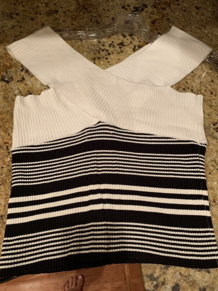 9a936f8a Zara Cropped Knit Sweater Off Shoulder Crossover Top Black White Striped  Small #fashion #clothing #shoes #accessories #womensclothing #tops (ebay  link)