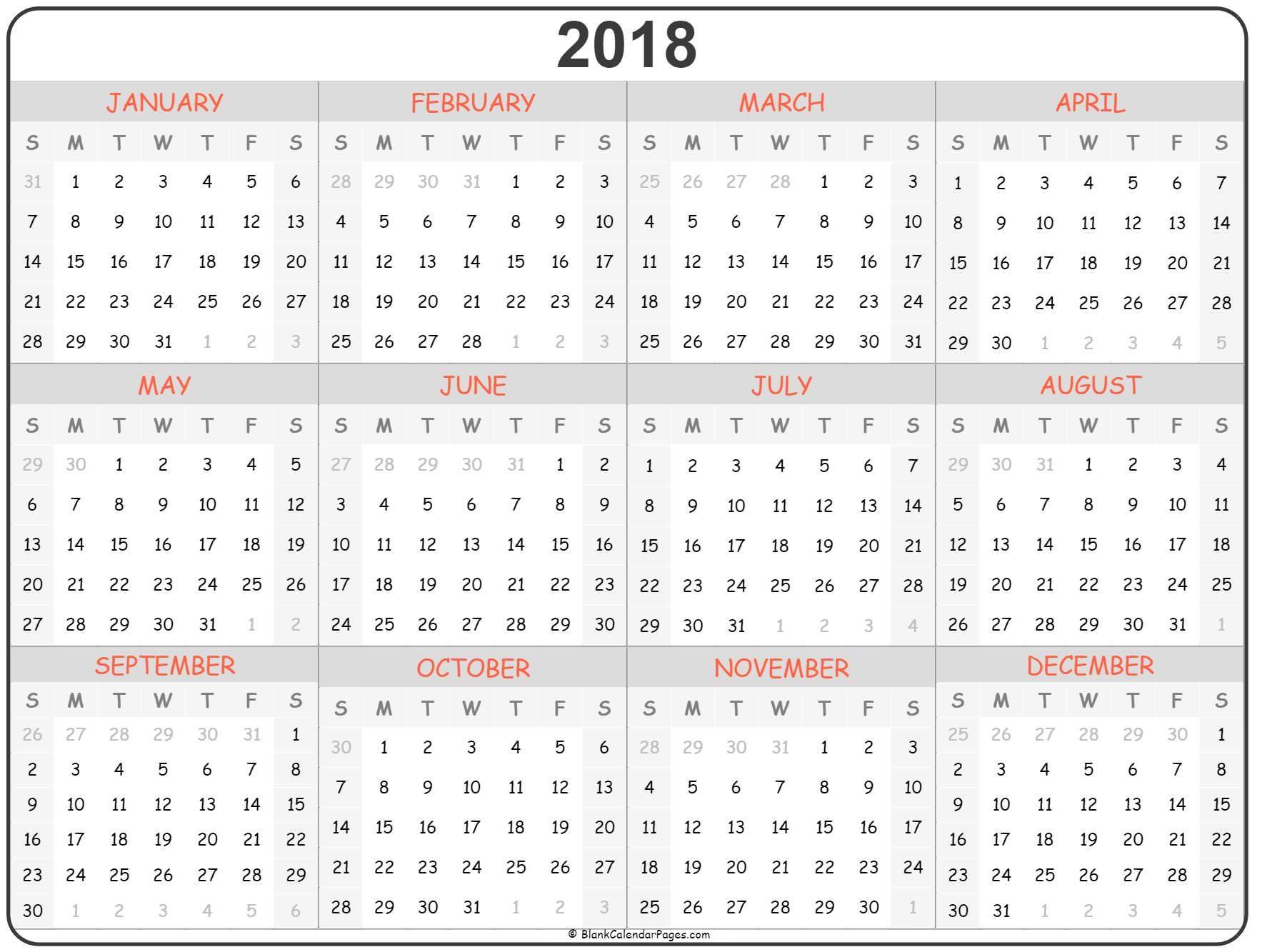 2018 Year Calendar Calendar Printables Free Printable Calendar Calendar Template