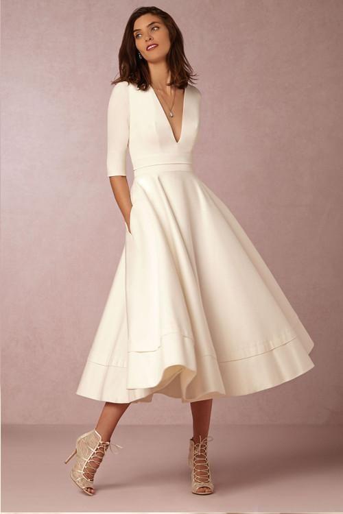 White Half Sleeve V Neck Fit Flare Dress Vestidos Meia Manga Maxi Vestidos Brancos Vestidos De Baile Elegantes