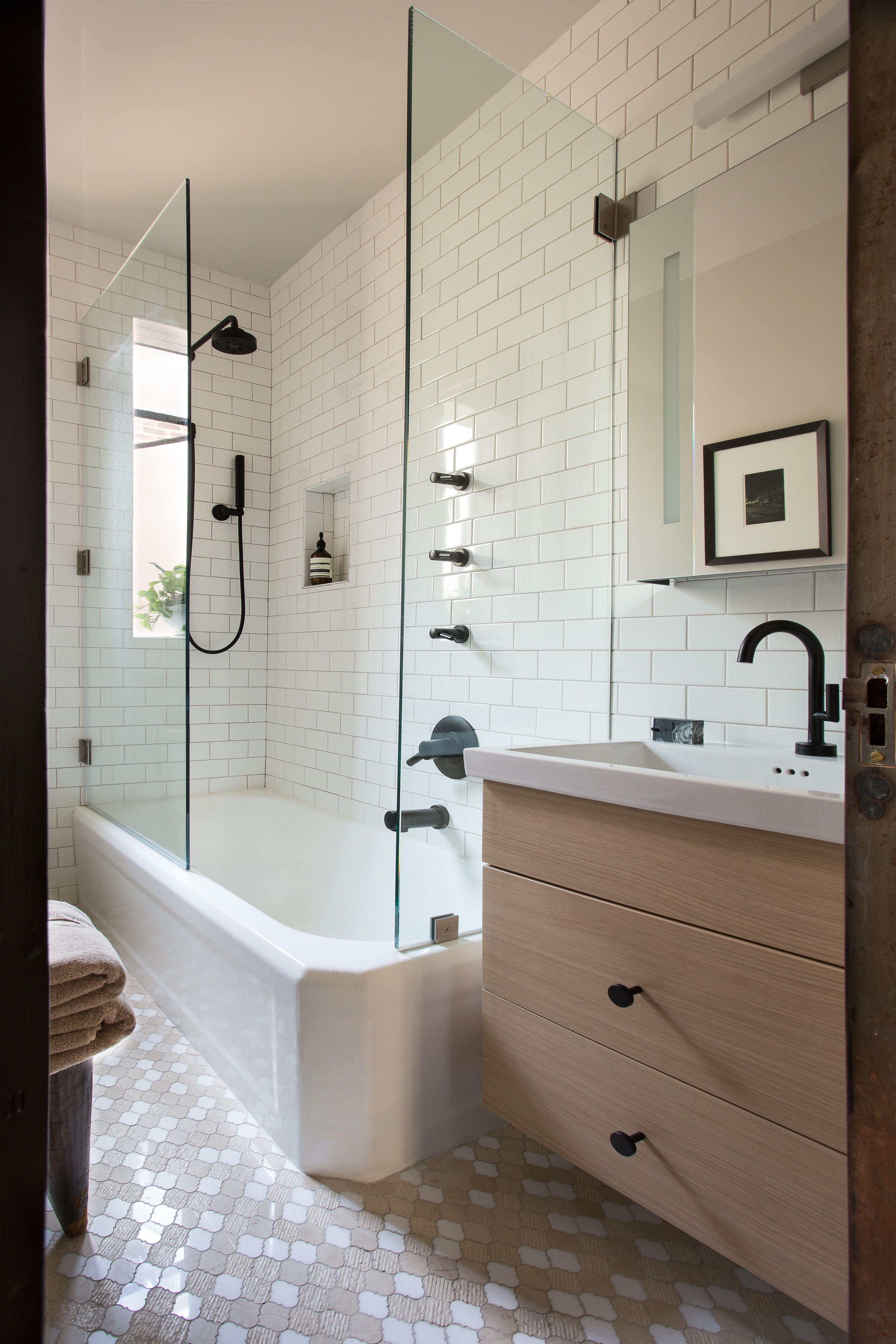 Bathroom Make Over Matte Black Hardware White Subway Tile With Beige Grout Black Bathroom Beige Bathroom Simple Bathroom Renovation