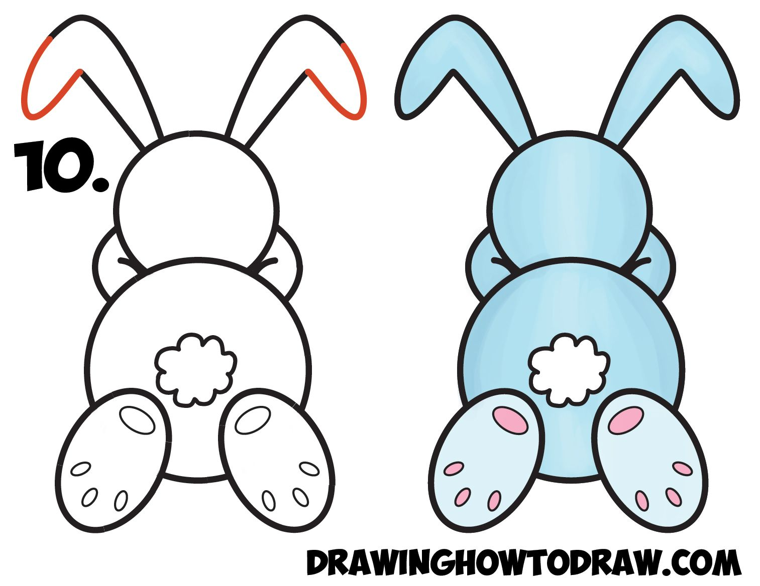 - How To Draw A Cute Cartoon Sleeping Bunny Rabbit From #8 Shape