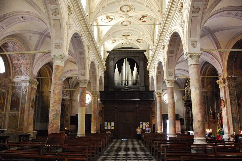 Tirano - St Martin's Church Nave Looking West to Organ Piazza San Martino Italy