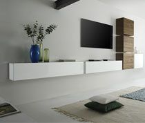 Ensemble Meuble TV Blanc Brillant Et Chêne Contemporain LACRE - Sofamobili meuble tv pour idees de deco de cuisine