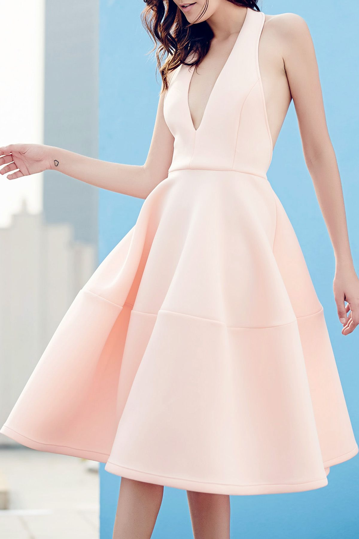 Open Back Solid Color Plunging Neck Sleeveless Dress