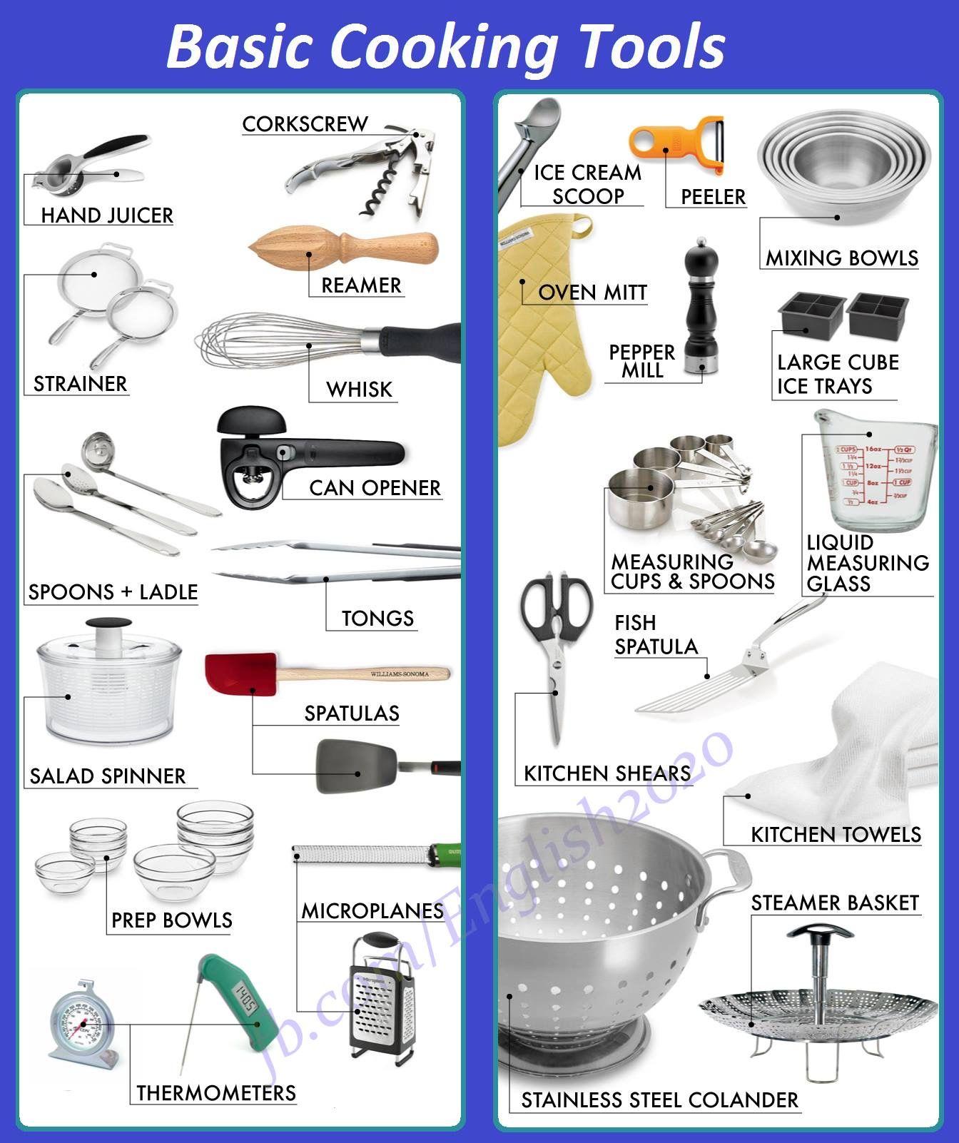 Vocabulary Basic Cooking Tools Com Imagens Utensilios De