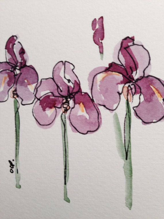 Iris In Bloom Watercolor Card Ot Gardenblooms Na Etsy 3 50 With