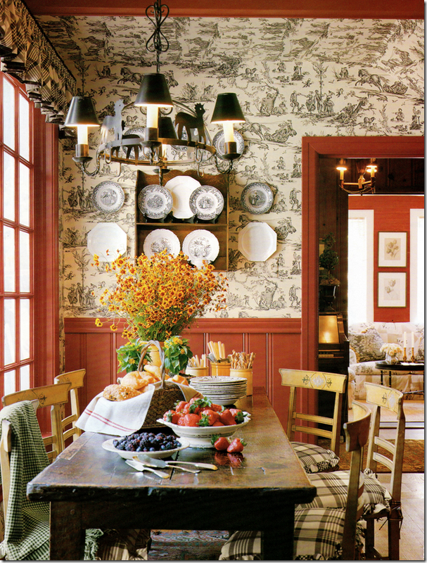Color Scheme: Example Of Switching Colors From Moulding To Wall. Background  Room Has A. Toile WallpaperCountry Dining ...