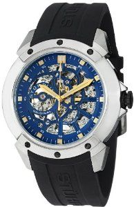 "Stuhrling Original Men's 539.33166 Leisure Gen-X Crucible XT Automatic Skeleton Black Rubber Strap Watch Stuhrling Original. $99.99. Skeleton dial with blue faceplate and gold tone applied square shaped markers. Protective krysterna crystal on front and back. Black high grade silicon rubber strap with stainless steel tang buckle. Stainless steel polished and brushed finish round shaped case with black decorative ""s"" screws on bezel. Water-resistant to 50 M (165 feet). Save 83% Off!"