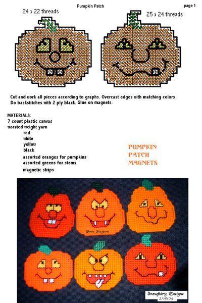 PUMPKIN PATCH 1/3 | I love plastic canvas! | Pinterest | Mallas ...