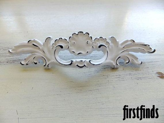 4 Uniquel French Provincial Handles Shabby Chic White Furniture Hardware  Drawer Door Painted Cottage Pull Kitchen