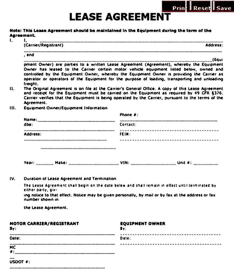 Owner Operator Lease Agreement Template Help You To Create The Lease Agreement Of Owner Of The Big Vehicles To Provide The Serv Lease Agreement Lease Agreement