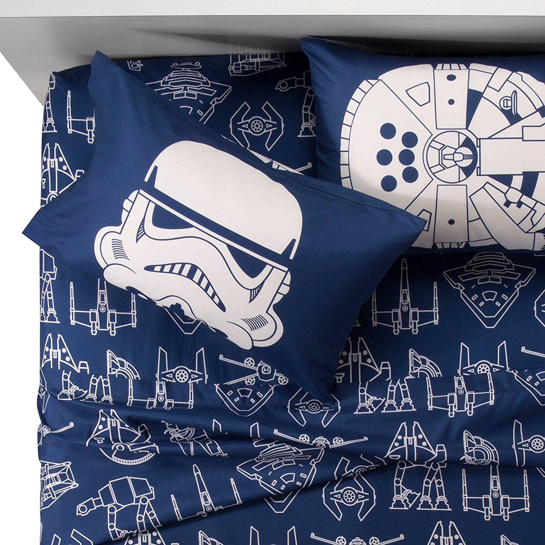 Star Wars Blue White Icon Sheet Set Full Star Wars Bed Star