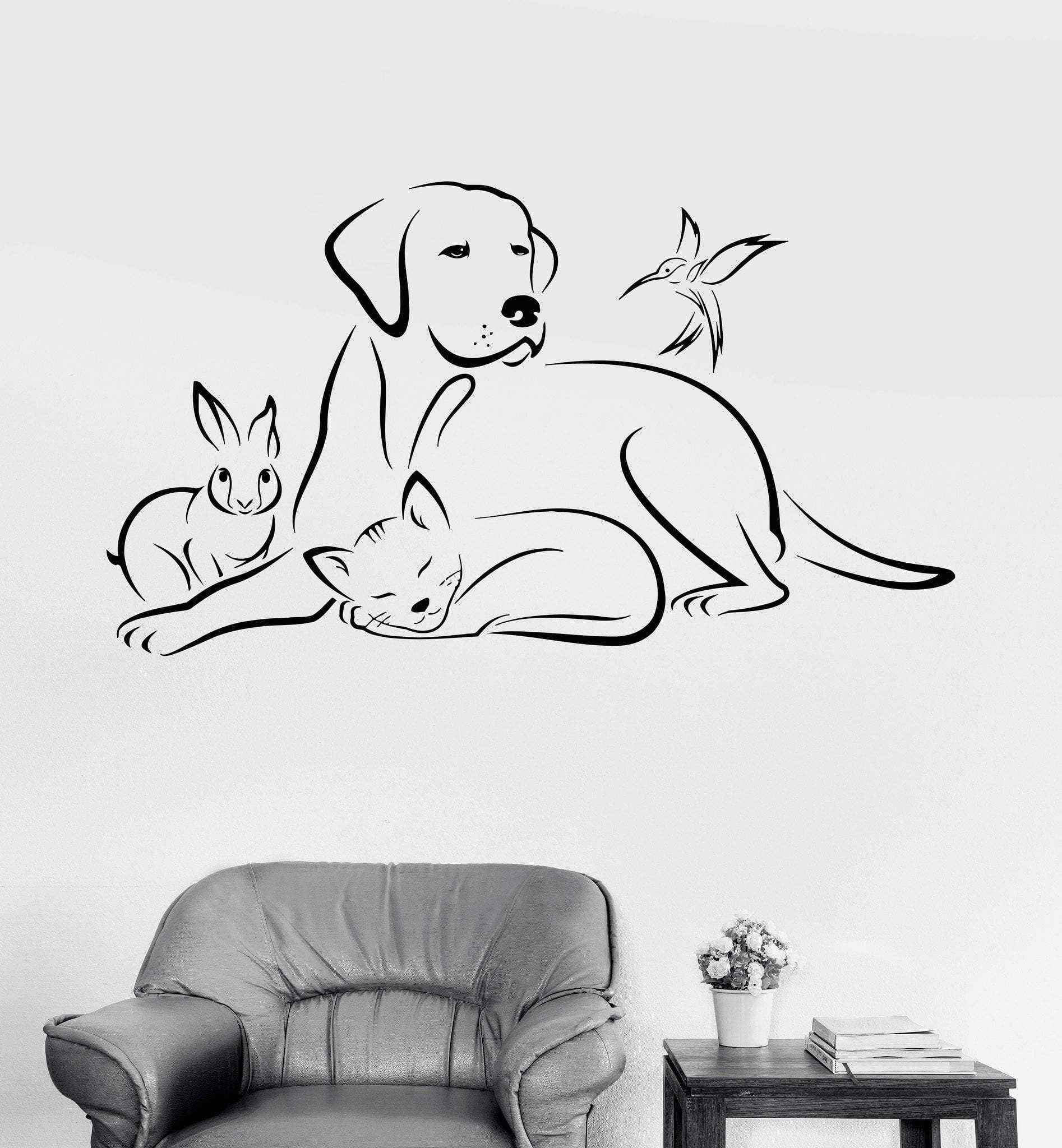 Vinyl Wall Decal Pets Animals Dog Bird Cat Veterinary
