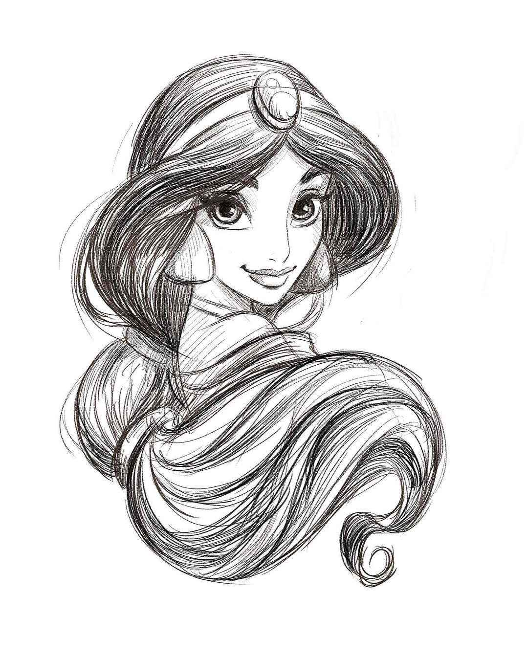 "Dorota Kotarba-Mendez on Instagram: ""Jasmine sketch. #disneyprincess #disney  #sketch  #jasmine #princess #princessjasmine #cartoon"""