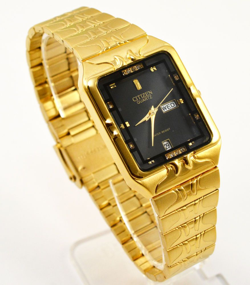 Citizen Day Date Gold Steel Rectangle Black Crystal Dial Analog Men Watch  038  Citizen  Dress 325a2b04e50