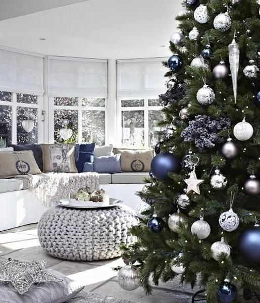 silver and blue christmas decorations