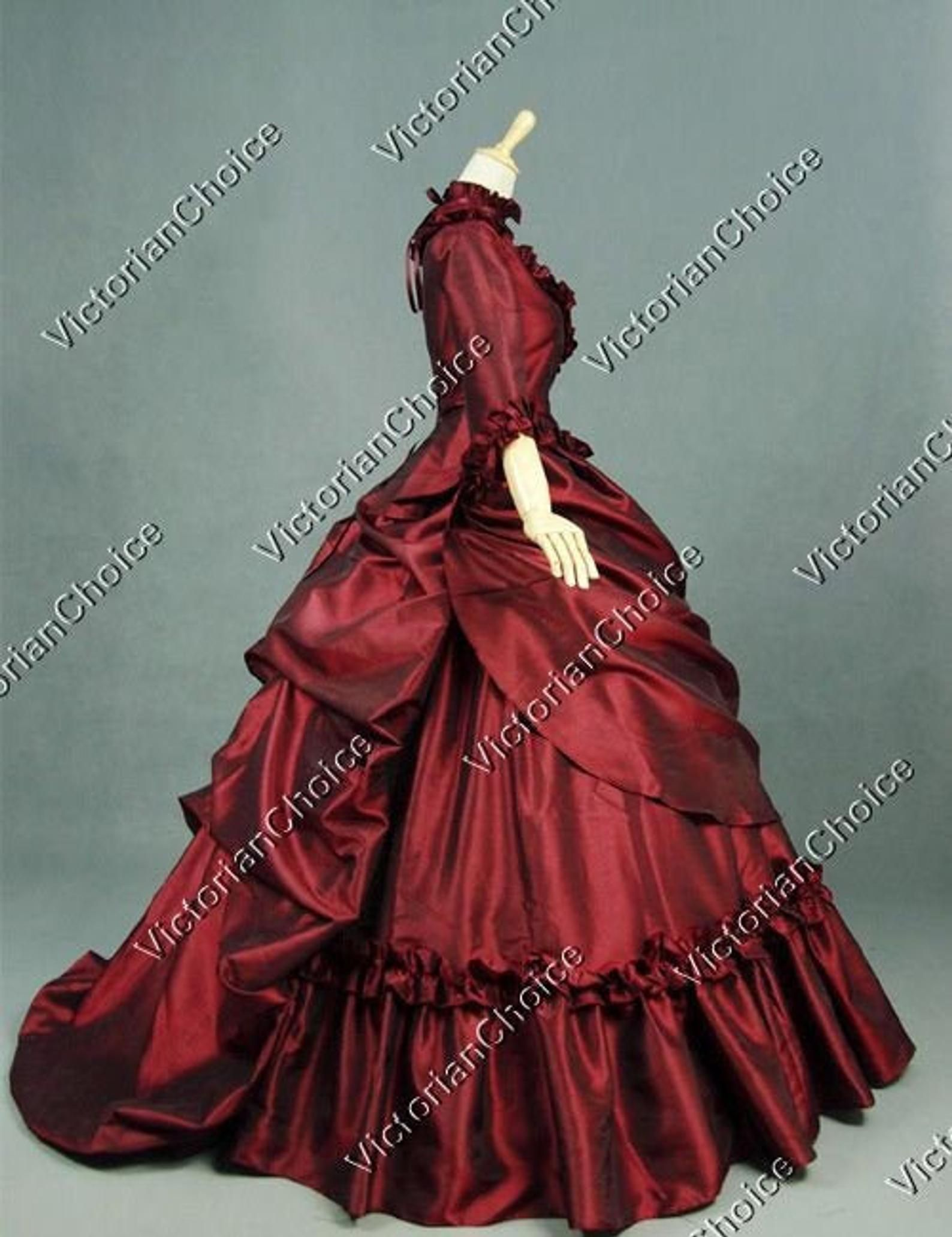 Victorian Bustle Dress Christmas Holiday Gown Vintage Prom Dress Mrs Claus Bustle 5 Pc Dress Masquerade Gown Taffeta Theater Costume Masquerade Ball Gowns Masquerade Ball Gown Ball Gowns [ 2064 x 1588 Pixel ]