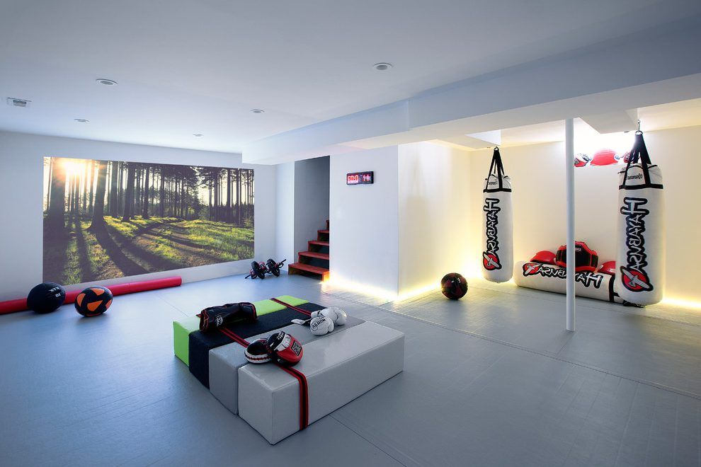 designing a home gym. Basement gym basement contemporary with lights home equipment  martial arts