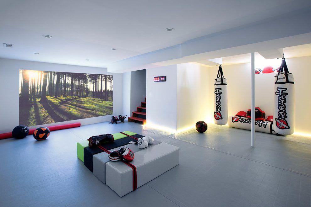 modern home gym basement space greenwich design ideas | Basement gym basement contemporary with gym lights home ...