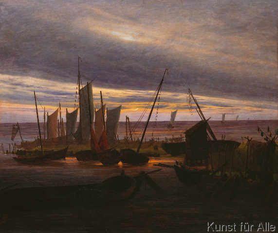 Landschaftsmalerei romantik friedrich  digitaler Kunstdruck: Schiffe im Hafen am Abend von Caspar David ...