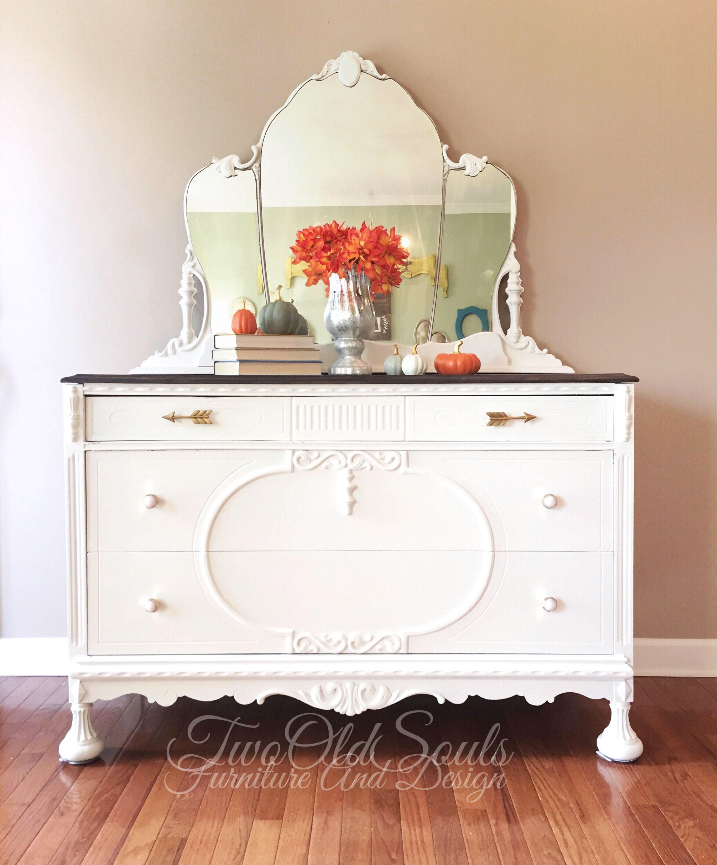 White two tone feminine jacobean dresser buffet baby changing