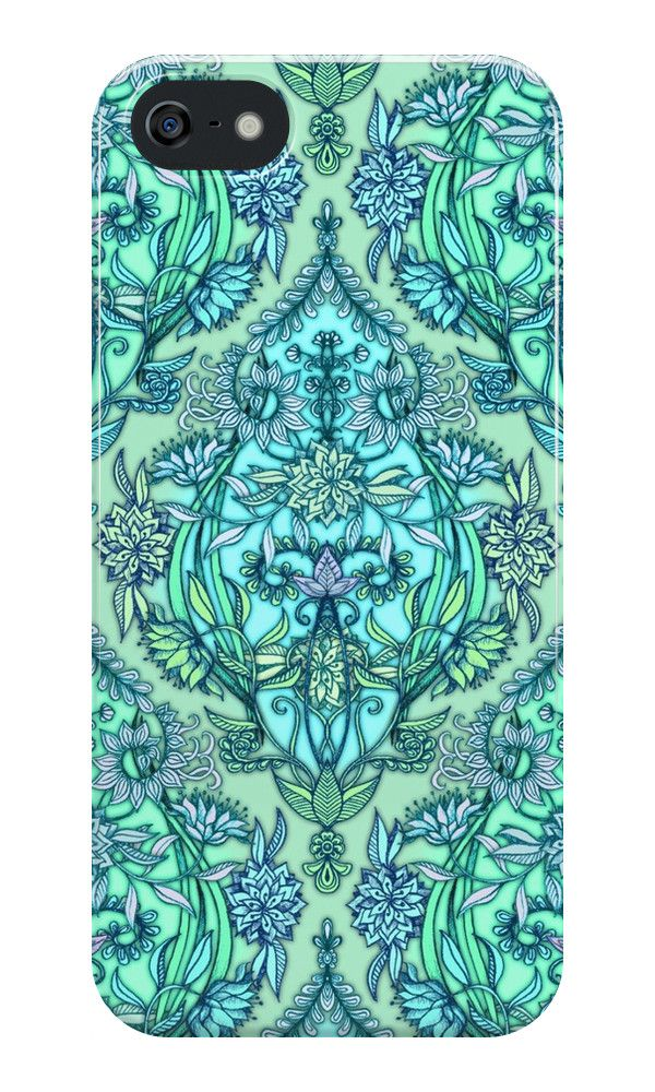 """""""Botanical Moroccan Doodle Pattern in Mint Green, Lilac & Aqua"""" iPhone Cases & Skins by micklyn 