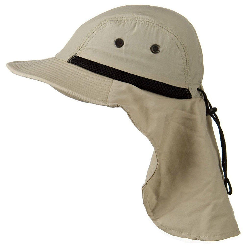 Stone Beige Outdoor Sun Flap Hat - CG11K0R6QUX  b1df438779f