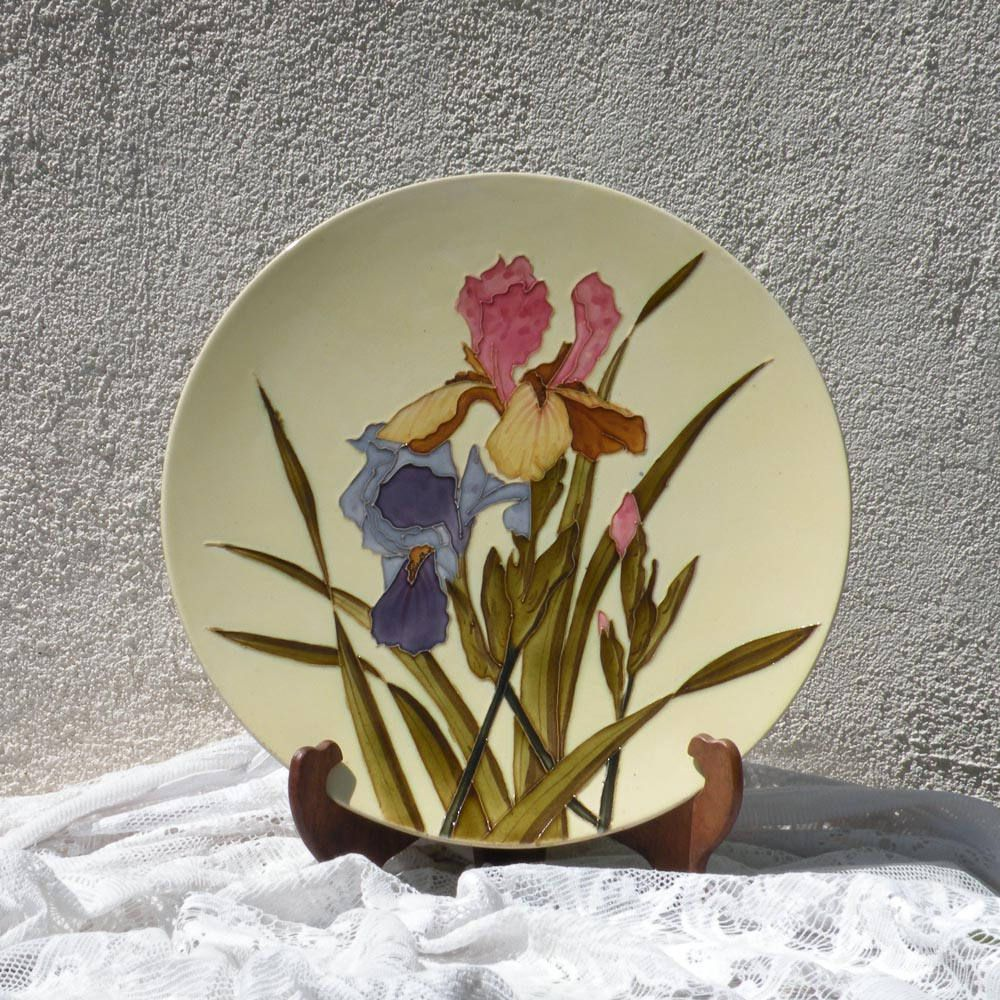 LARGE Longch& ironstone majolica plate French antique plate French vintage plate majolica wall : french decorative plates - Pezcame.Com