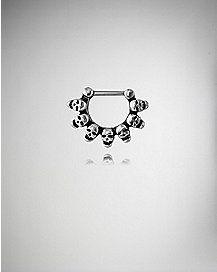 16 Gauge Silver Skulls Septum Clicker