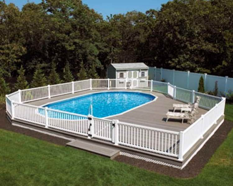 White-wooden-deck-above-ground-pools-designs-for-small-yard
