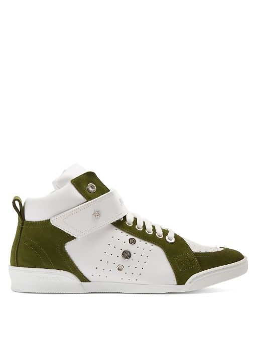 a5287dc95d JIMMY CHOO Lewis High-Top Leather And Suede Trainers. #jimmychoo #shoes # sneakers