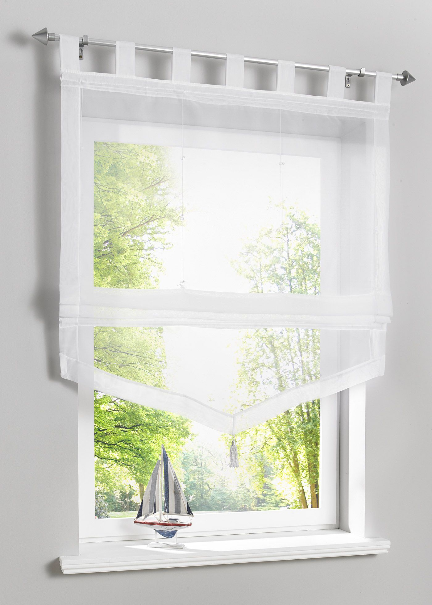 Raffrollo mit Einfassung, Schlaufen  Raffrollo, Fensterrollos und