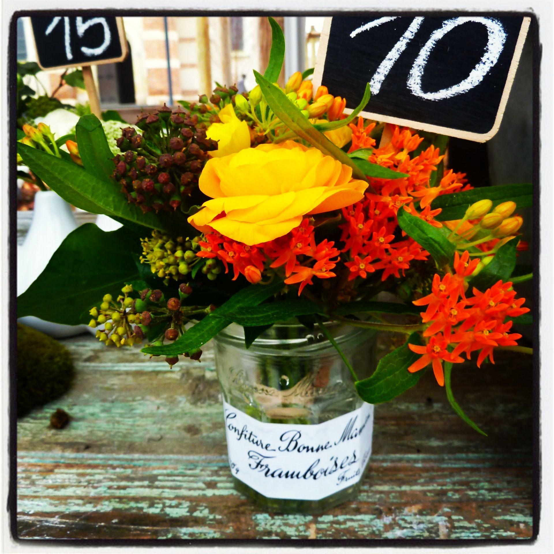 Bouquet jaune orang cr ation la fille aux chaussures vertes d coration florale mariage - Decoration florale evenementiel ...