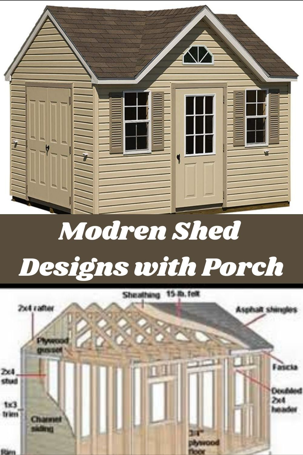 Modern Shed Design With Porch Building Plans Diy Projects In 2020 Shed Design Shed Roof Design Modern Shed